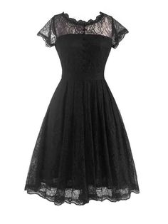 Single Button Round Neck Lace Skater Dress Only $32.95 USD More info...