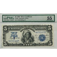 1899 $5 Silver Certificate Indian AU55 PMG | Golden Eagle Coins