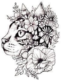 Flowers and cat& head - Tattoo vorlagen - Head Tattoos, Dog Tattoos, Cat Tattoo, Forearm Tattoos, Tattoo Drawings, Petit Tattoo, Cat Coloring Page, Flower Sleeve, Butterfly Drawing