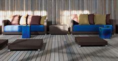 Sofa in handwoven white-grey polyethylene, aluminium frame. Cushions with polyurethane foams, dacron and down. Outdoor Furniture, Outdoor Decor, Swimming Pools, Cushions, Sofa, House, Home Decor, Garden, Interiors