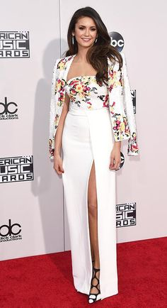 Nina Dobrev in a white sequined Zuhair Murad dress and jacket at the 2015 AMAs - click through for more best dressed