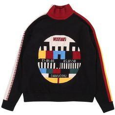 Bad TV Jumper ❤ liked on Polyvore featuring tops, sweaters, graphic design sweaters, over sized sweaters, oversized tops, knit sweater and oversized sweater