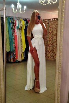 Nieuwe vrouwen chiffon maxi jurken 2015 kant patchwork boog strik split half mouw floor lengte lange jurk roupas femininas wit