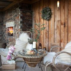 Winter garden 7 ways to make your garden cosy during the winter is part of Winter garden Terasse - Enjoy your garden all year round with these warming hyggeinspired tips and tricks Here's how to make the perfect winter garden Cosy Christmas, Magical Christmas, Outdoor Christmas, Winter Balcony, Cosy Winter, Garden Images, Rustic Barn, Outdoor Gardens, Planting Flowers