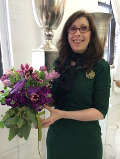 Deborah Main and her lovely bouquet at Aisling Flowers on #BlogTourNYC @Deborah Main @Aisling Flowers
