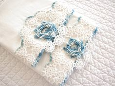 Pair of Hand Crocheted Vintage Standard Pillowcases, Set of Two Varigated Blue