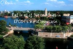 Eat in all of the countries in EPCOT's World Showcase...check off Canada, Morocco, Japan, Germany, and Mexico