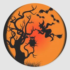 Shop Spooky Halloween Witch Classic Round Sticker created by HooplaHQ. Halloween Shadow Box, Halloween Rocks, Spooky Halloween, Vintage Halloween, Halloween Crafts, Halloween Inspo, Vintage Witch, Halloween Pictures, Halloween Cookies
