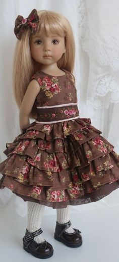 Brown Floral Dress for Little Darling Effner