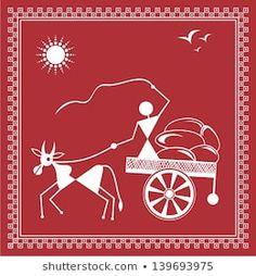Warli Painting of a bullock Cart Worli Painting, Art Painting Gallery, Fabric Painting, Art Drawings For Kids, Art Drawings Sketches Simple, Arte Tribal, Tribal Art, African Art Paintings, Pottery Painting Designs