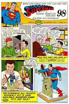Classic comic book ad for the Aurora Superman model kit.