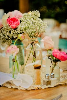 Vintage Country Style Wedding - Rustic Wedding Chic-- love the baby's breath with roses look, just within a mason jar! Rustic Wedding Centerpieces, Wedding Table, Diy Wedding, Dream Wedding, Wedding Decorations, Wedding Day, Wedding Rustic, Elegant Wedding, Vintage Centerpieces