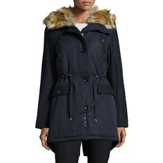 French Connection Hooded Jacket with Faux-Fur-Trim ($98) ❤ liked on Polyvore featuring outerwear, jackets, utility bl, french connection parka, hooded parka, french connection jacket, hooded jacket and faux fur trimmed parka jacket