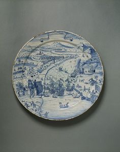 Dish, Redcliff Back Pottery, c.1740, England, tin-glazed earthenware, painted, Victoria and Albert Museum.