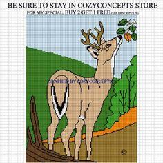 crochet deer afghan pattern   CROCHET AFGHAN PATTERN GRAPHS DEER IN WOODS EMAILED .PDF ...