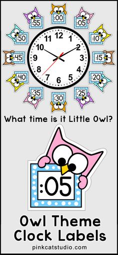 These fun owl theme clock labels will look fantastic around your classroom clock! The polka dot frames and silly owl characters are sure to inspire your students to practice telling time. Worksheets are also included. By Pink Cat Studio. Classroom Clock, Owl Theme Classroom, Classroom Setup, Classroom Displays, Kindergarten Classroom, School Classroom, Teaching Math, Classroom Organization, Classroom Management