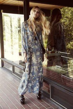 "Boho Maxi Dress ""Santa Rosa"" Blue Floral Long Peasant Sleeves Ruffled Tassel Ties Relaxed Sheer Summer Dress Small…"