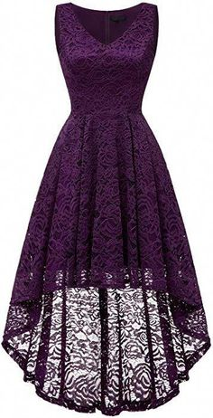Bridesmay Women's Elegant V-Neck Vintage High Low Sleeveless Floral Lace Cocktail Party Swing Dress Grape S Cute Prom Dresses, Grad Dresses, Dressy Dresses, Evening Dresses, Short Dresses, Mode Outfits, Dress Outfits, Fashion Outfits, African Fashion Dresses