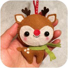 Rudolph the Reindeer Felt Christmas Ornament by pinkTopic on Etsy Más Felt Christmas Decorations, Felt Christmas Ornaments, Noel Christmas, Handmade Christmas, Christmas Projects, Felt Crafts, Holiday Crafts, Navidad Diy, Felt Toys