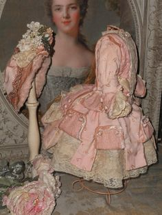 Fancy pale pink one of a kind French Bebe dress with high brim wire bonnet , most hand sewn of beautiful flowers  embroidery pink silk , silk velvet