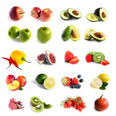 Check out Fresh fruit and vegetable set by Grounder on Creative Market