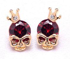 Boucles d'oreilles skull king plaqué or Femme
