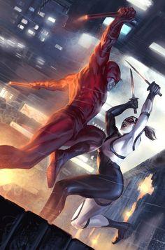 Daredevil vs. Lady Bullseye by Marko Djurdjevic