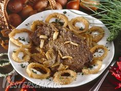 Hagymás marhapecsenye Pork, Cooking Recipes, Beef, Dishes, Foods, Drinks, Kale Stir Fry, Meat, Food Food