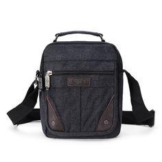 51a7b27b14 Mens Canvas Small Travel Shoulder Bag Crossbody Messenger Bags - US 13.99