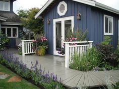 Build a nice wooden garden house yourself - 17 tips - Swedish blue garden house with gray terrace - Wooden Terrace, Wooden Garden, Cottage Exterior, Exterior House Colors, Blue Garden, Home And Garden, Blue Shed, Board And Batten Exterior, Shed Landscaping