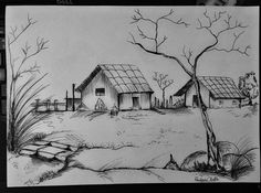 18 ideas for drawing ideas pencil sketches for kids Pencil Sketches Landscape, Landscape Drawings, Pencil Drawings Of Love, Art Drawings Sketches Simple, Drawing Ideas, Pencil Shading, Color Pencil Art, Drawing Scenery, Painting & Drawing