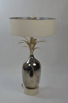 Antique Faux #Mercury #Pineapple #Table #Lamp #Southampton #Mecox #interiordesign #MecoxGardens #furniture #shopping #home #decor #design #room #designidea #vintage #antiques #garden #Hamptons