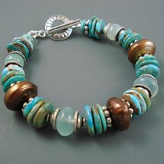 Turquoise Pearl and Chalcedony Bracelet with by JewelryByJacoby