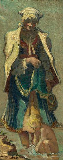Martin Benka - Slováci   Web umenia Folk Clothing, Statues, Illustrators, Graphic Art, Illustration Art, Tapestry, Wall Art, Artist, Painters