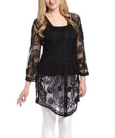 Look what I found on #zulily! Black Sheer Embroidered Silk-Blend Duster by Pretty Angel #zulilyfinds