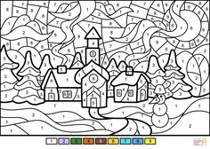 Winter Town Color by Number from Color by Number Worksheets category. Select from 32012 printable crafts of cartoons, nature, animals, Bible and many more. Coloring Pages Winter, Super Coloring Pages, Bible Coloring Pages, Free Adult Coloring Pages, Online Coloring Pages, Flower Coloring Pages, Free Printable Coloring Pages, Coloring Books, Adult Color By Number