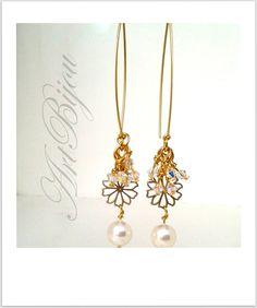 Pearl Earrings, Dangle Earrings, Gold Brass Earrings, Large Earrings, Bridal Earrings, Modern, Elegant, Women Gift, Gift Her, Gift Idea
