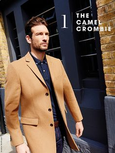 Tu clothing, men's, camel Crombie coat, denim shirt, blue jeans
