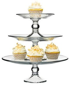 The Cellar Serveware, Stackable 3 Tier Cake Stand glass 7.5/10.6/12.9dia 29.99 10%off thru 1/20