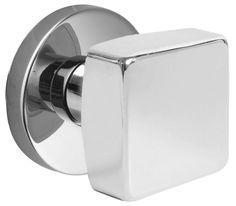 Emtek C505SQU Square Knob Brass Modern Dummy Door Knobset with the CF Mechanism Polished Chrome Knobset Dummy Set