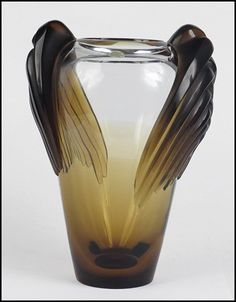 LALIQUE AMBER AND CLEAR GLASS MARRAKECH VASE. : Lot 1282025