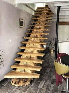 Beautiful stairs👌 Make woodworking projects with step by step plans! ⚒ - Over Woodworking Plans - With CAD/DWG software to view/edit… Wooden Staircases, Wooden Staircase Design, Rustic Staircase, Stair Design, Staircase Ideas, Wood Design, Stairways, Woodworking Projects Plans, Woodworking Videos