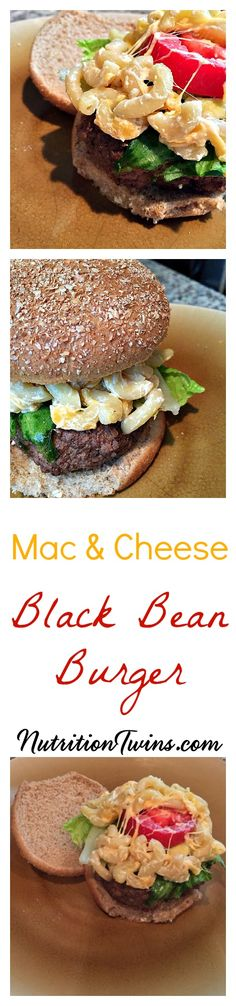 Mac & Cheese Black Bean Burger | Only 330 Calories | Comfort Food without the fat & Calories | Vegetarian too | For MORE RECIPES, fitness and nutrition tips, please SIGN UP for our FREE NEWSLETTER www.NutritionTwins.com