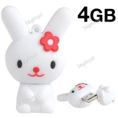 USB 2.0 флэш-накопитель U диск в  виде симпатичный белый кролик  - 4 GB памяти CUD-29751