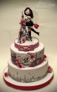 Paris themed cake by Antonella Di Maria Torte and Design Gorgeous Cakes, Pretty Cakes, Cute Cakes, Amazing Cakes, Fancy Cakes, Bolo Paris, Cake Paris, Paris Themed Cakes, Fondant Cakes