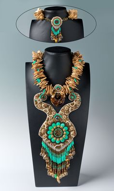 Jewelry Design - Bib-Style Necklace with Glass and Gemstone Focals, Wood Beads and Seed Beads - Fire Mountain Gems and Beads