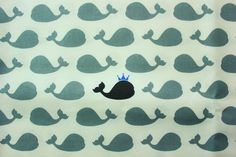 King Whale #Fabric /Blue Crown / #FishFabric / #AnimalPrint / #Cotton / #Monochrome / #Dressmaking #Kids Pouch #Bag #Shirt #Quilt #Patch / Half Metre by TwoChubbyRabbits on Etsy