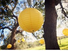 Perfect for the trees - easy to find and easy to hang - I would stick with just yellow