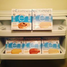 Hello dream freezer   Fully stocked with ENLIGHTENED sea salt caramel toasted almond peanut butter fudge and coffee ice cream bars!   What's your favorite flavor???
