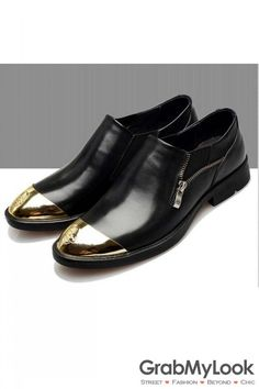 MEN's Corner :: Shoes :: Gold Skull Cap Punk Rock Oxfords Mens Dress Shoes